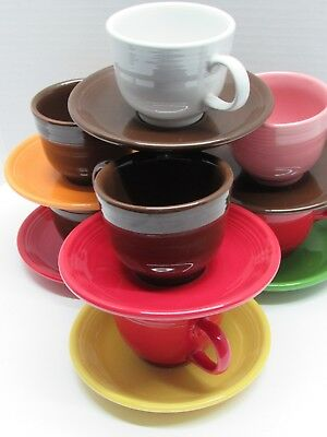 Set of 7 Fiesta Ware fiestaware mixed color cup and saucer Mug Homer Laughlin