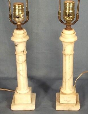 PAIR OF EARLY 20th CENTURY FLUTED COLUMN MARBLE LAMPS ON STEPPED PLINTH BASE