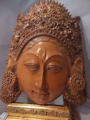 Vtg Asian / Chinese Beautifully Hand Carved Wooden Goddess Wall Mask