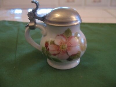 Vintage Victorian Glass Syrup with Metal Top And Hand Painted Pink Wild Roses
