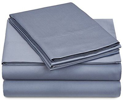 Pinzon 500-Thread-Count Pima Cotton Sateen Sheet Set - King, Flint Blue TAXFREE