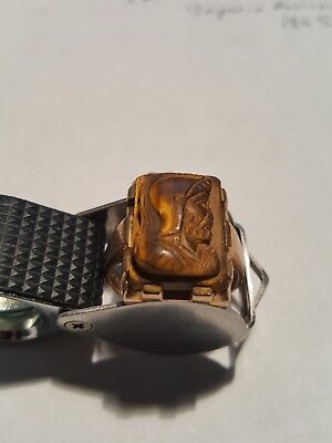 Victorian Tigers Eye Solid Gold Mens Ring Antique Carved Greco Roman Cameo 10K