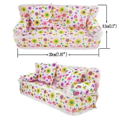 Mini Furniture Floral Sofa Couch +2 Cushions For Barbie Doll House Accessories