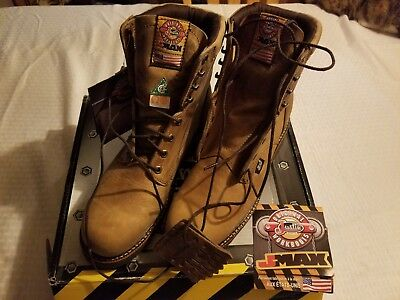 882ff514d59 JUSTIN TAN GAUCHO JMAX Lace Up STEEL TOE Work Boots 0441 MADE IN USA Men's  9D