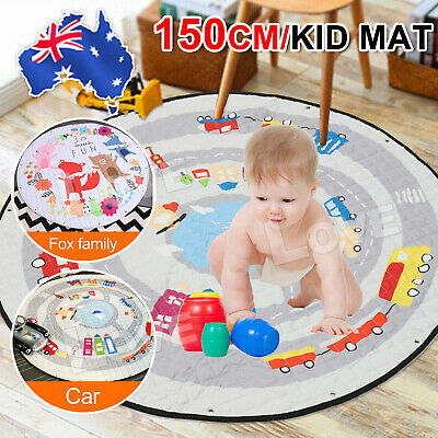 AU Portable Baby Kids Gym Play Mat Crawling Blanket Soft Cotton Toys Storage Bag