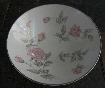 "Noritake China Roseglen Japan Platinum Trim 8 7/8"" Round Vegetable Bowl"