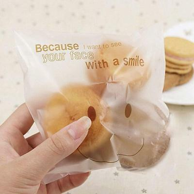 Fashion 100Pcs Smile Face Cello Self Adhesive Plastic Candy Cookie Bag YI