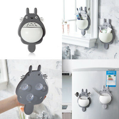 Cute Totoro Toothbrush Holder Storage Rack Suction Wall Mounted Bathroom Supply