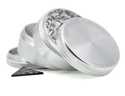 "2.5"" SPACE CASE Magnetic Silver Tobacco Herb Grinder Spice Aluminum Silver color"