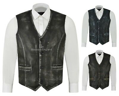 Mens Genuine Real Soft Leather Casual Party Fashion Designer Black Waistcoat