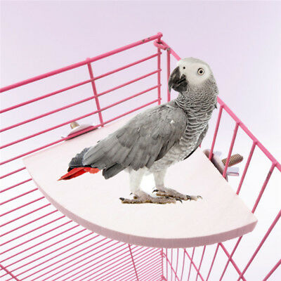 Pet Parrot Wooden Platform Stand Rack Hang Toy Hamster Perches For Bird Cage N7