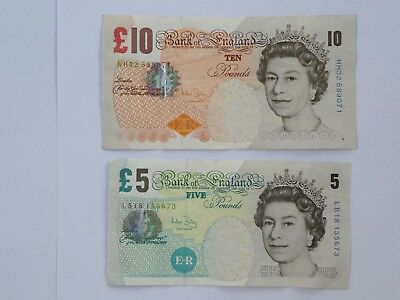 Bank of England 10 pound note + 5 pound note - circulated condition