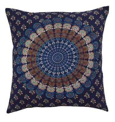 """16"""" Cotton Vintage Traditional Printed Throw Cushion/Pillow Cover Dark Blue"""