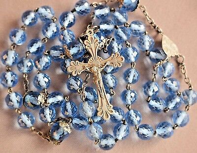 Antique French HUGE Faceted Blue Crystal Beads & Sterling Silver Rosary