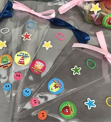 30 BIRTHDAY Party Bag sweet DIY cones It's My Birthday Stickers Ties And Ribbon