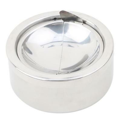 Round Stainless Steel Cigarette Lidded Ashtray Silver Windproof Ashtray Case YI
