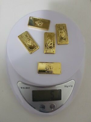 50 Gram 100 mills .999 Fine Gold plated Buffalo Bars 5 lot and gold recovery
