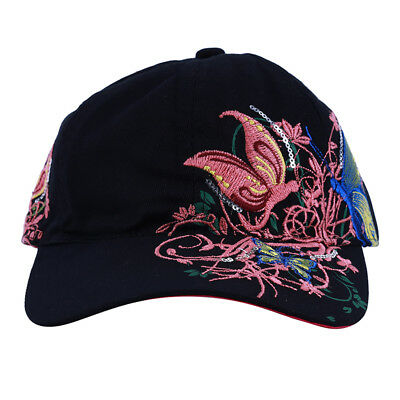 Adjustable For Girls Women Baseball Hat Sequin Butterfly Embroidered Cap LH
