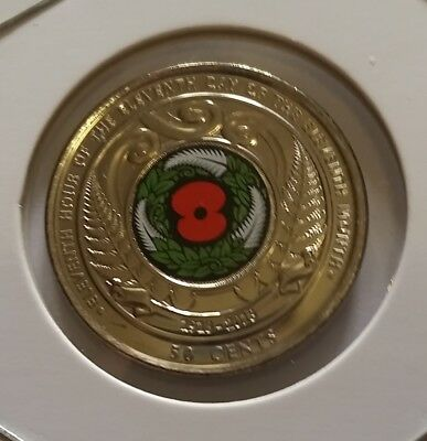 *New Zealand Unc 2018 Armistice Commemorative Red Poppy 50c cent coin in holder.