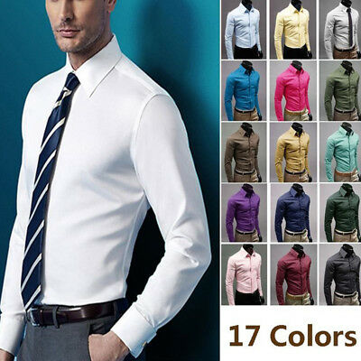 Men's Luxury Slim Fit Long Sleeve Wedding Formal Everyday Business T-shirt Tops