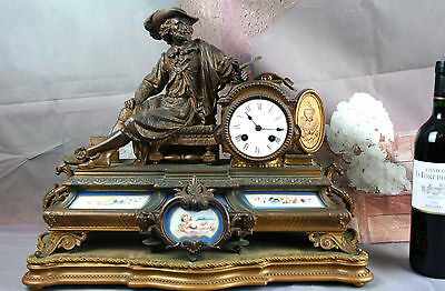 Antique French clock  sevres putti floral porcelain plaques dragon gothic 19thc