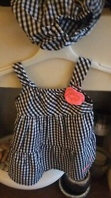 Calvin Klein Baby Girls Dress Gorgeous Two Piece check Outfit Set Age 3/6Months