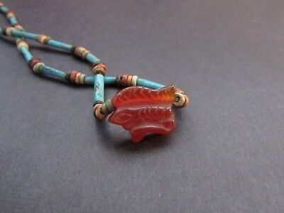 NILE  Ancient Egyptian Carnelian Eye of Horus Amulet Mummy Bead Necklace  600 BC