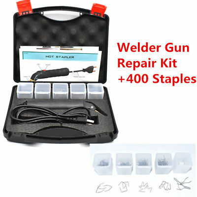 110V Hot Stapler Plastic Repair Kit Car Bumper Fender Welder Gun with 400 Staple