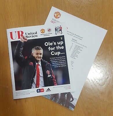 Man Utd V  Reading Fa Cup Programme 05.01.19 C/w Team Sheet