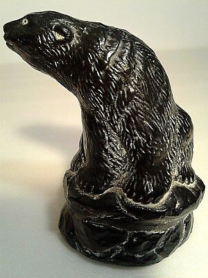Aardvark Collection Canada Black Carved Bear sitting on rock EC Free Shipping!!!