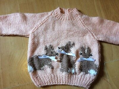 """Fab NEW Peach Hand Knitted Baby Jumper Flopsy Bunnies 18"""" 0-6 months Gift"""