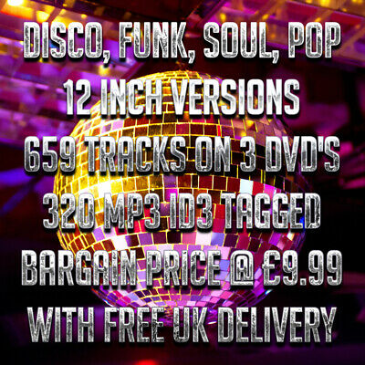 Disco, Funk, Soul, Pop 12 Inch Versions - 659 Tracks On 3 DVD's (320 MP3)