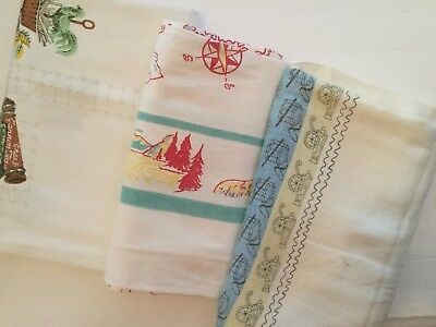 Lot Of 3 Vintage Printed Tablecloths - Novelty 2