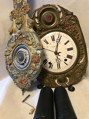 "1860's Darcy French Morbier Repeater Bell Strike  Wall Clock "" Serviced"""