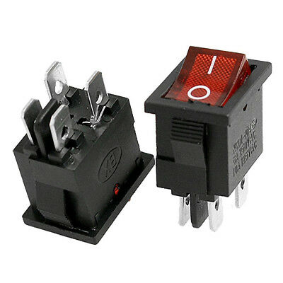 KCD1-104N Red Light 4 Pins ON/OFF DPST Rocker Switch 10A/125VAC 6A/250V