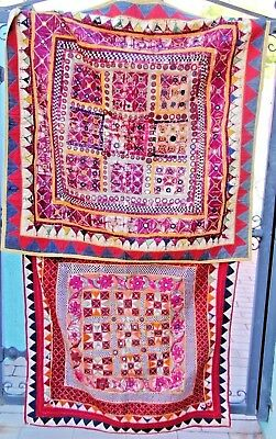 100yr Vintage Gujarat Tapestry Textiles Wall Art  2- Hand-Embroidered India ART