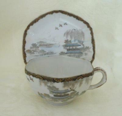Antique Cup Saucer Set Hand Painted Oriental Pagoda Geisha Scene Gold Gilt Asian