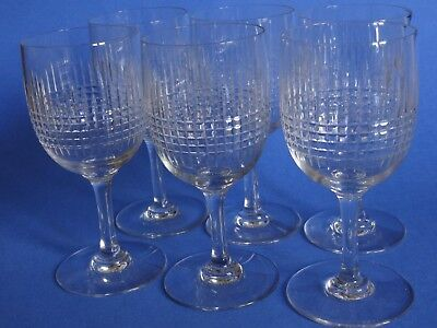 "6 ANTIQUES WATER GLASSES CRYSTAL BACCARAT PATTERN NANCY 1920s' height 6""1/8"