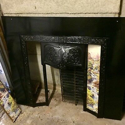 art nouveau antique Iron tiled fireplace insert
