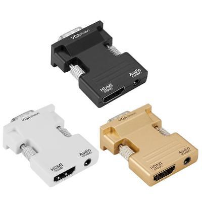 HDMI Female to VGA Male Adapter Converter with Cable Audio Support 1080P Output