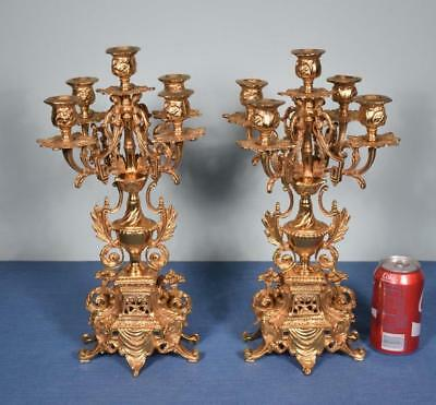 "*16"" Tall Pair of Vintage French Empire Bronze Candelabra Candlesticks"