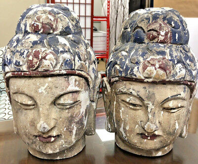 Large Antique Signed Carved Wood Hand Painted Buddhist Buddha Head Statue's iss