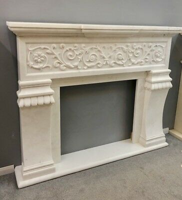 Bespoke Solid Marble Fireplace Fire Surround Hand Carved Amazing  Mantle HR1