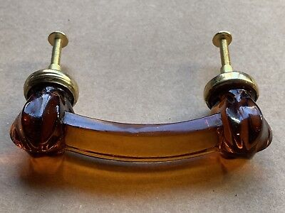 """Vintage Brown Glass/Brass Drawer Handle Pull, 4"""" Wide, New (Old Stock)"""