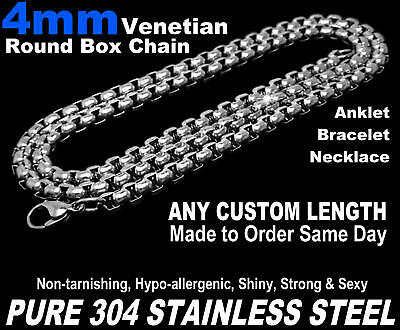"""4mm Venetian Round Box Chain Necklace Pure Stainless Steel 7""""-50"""" Long or Custom"""