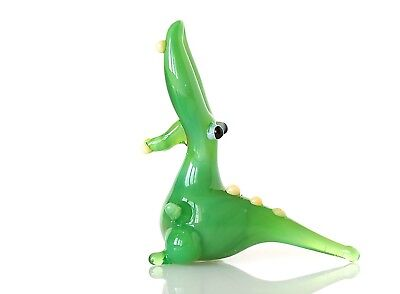 "Tiny Green Alligator Figurine Blown Glass ""Murano"" Art Animal Miniature"