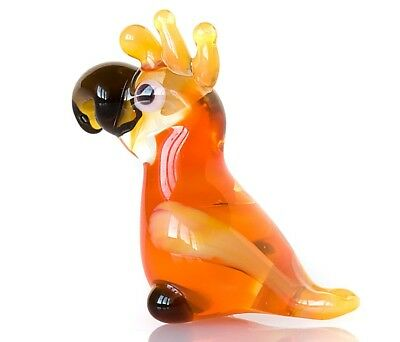 "Tiny Orange Parrot Figurine Blown Glass ""Murano"" Art Animal Bird Miniature"