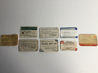 Vintage Credit Cards, Lot of 8, 1936-1950