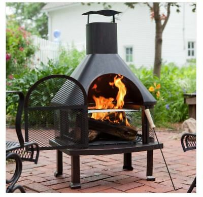 Outdoor Fireplace Patio Fire Pit Wood Burning Chiminea Heater Grill Backyard