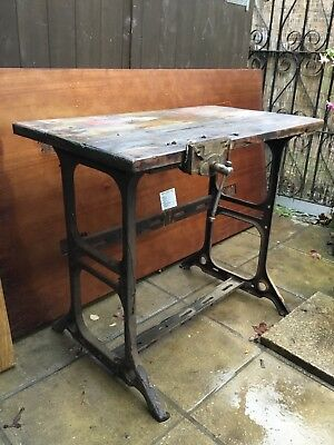 Vintage Work bench/Table With Cast Iron Legs Kitchen island